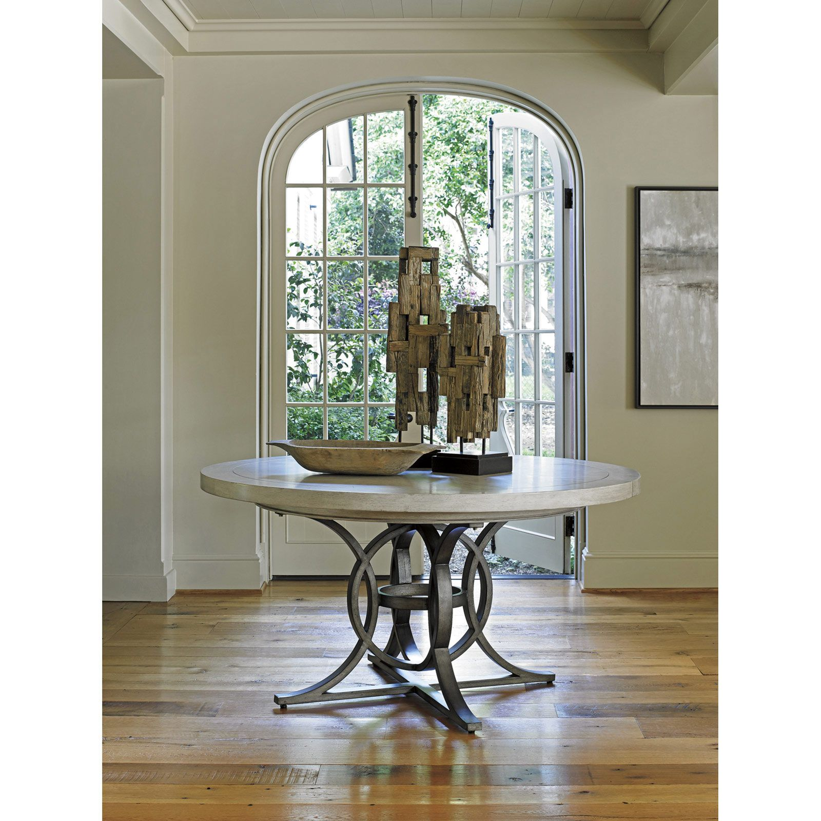 Lexington Calerton Modern Grey Metal Round Whitewash Wood Extendable Dining Table 58 80 In 2021 Round Foyer Table Entryway Round Table Round Dining Table