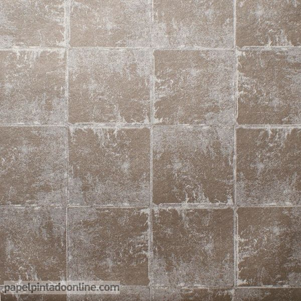 Papel Pintado Milan CO00141, papel de cuadrados con efecto desgatado en los bordes en color azul bronce.
