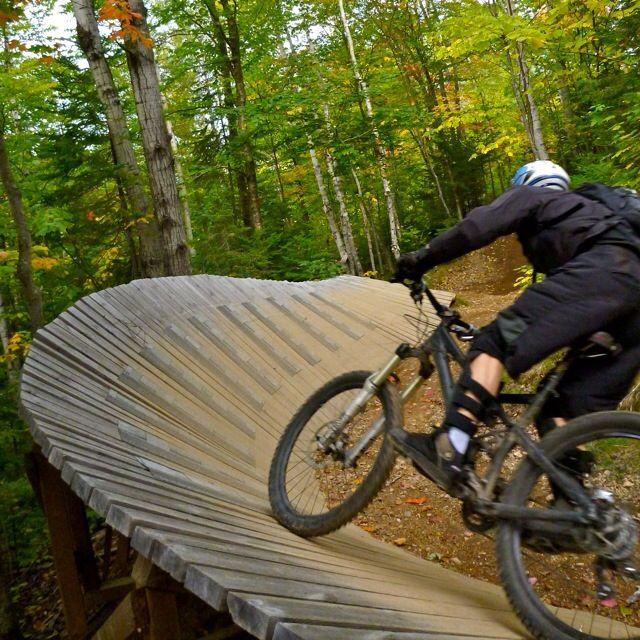 sugarloaf mountain bike park nice wooden berm on suga daddy wood