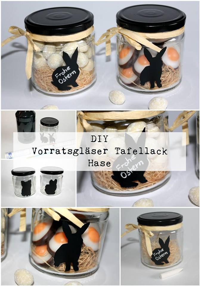 diy vorratsgl ser mit tafellackhasen recycling upcycling tafellack osterideen und ostergeschenk. Black Bedroom Furniture Sets. Home Design Ideas