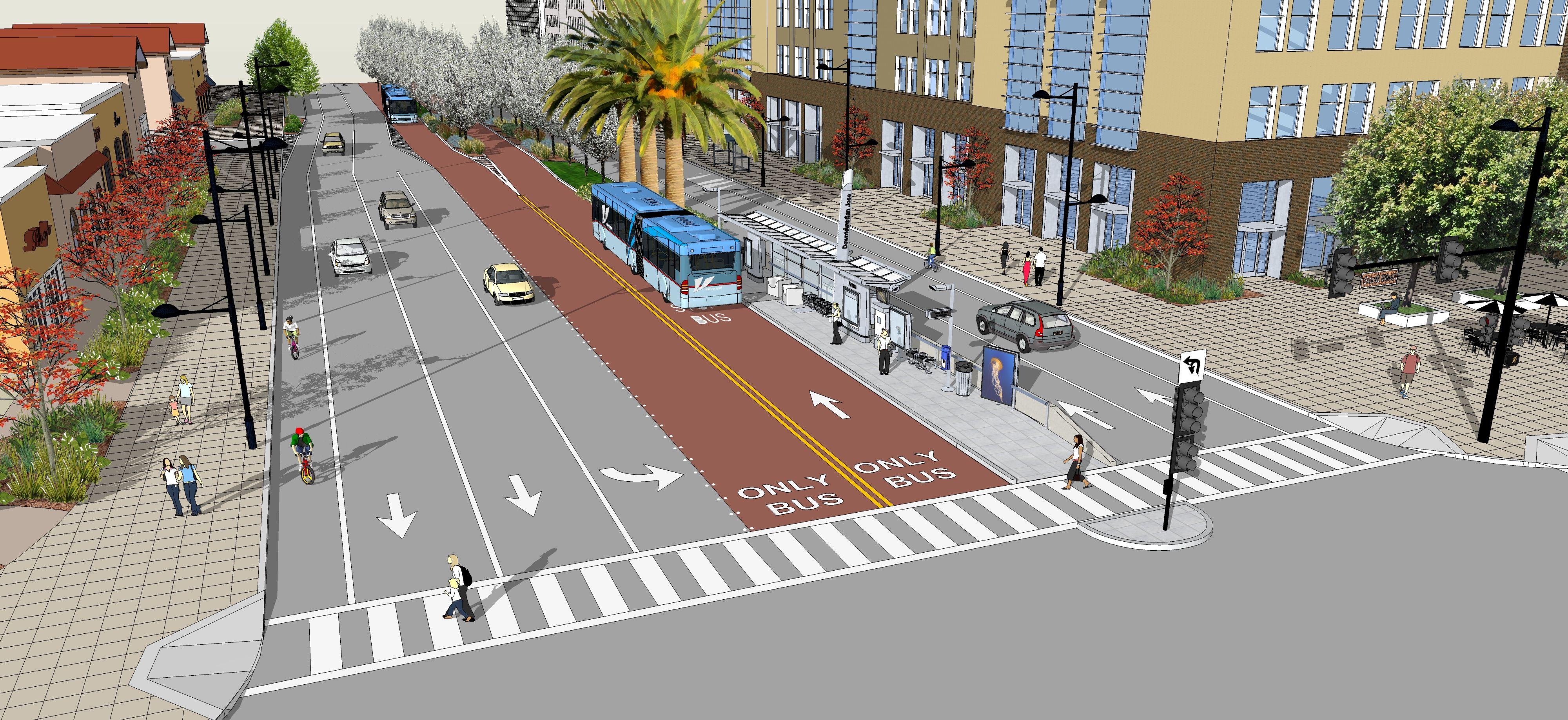 view simulation of bus operating in dedicated lane in median