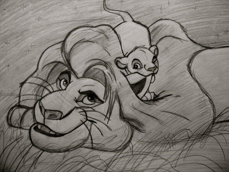 Simba And Mufasa Sketch By Kapuschati.deviantart.com On @deviantART | Magical Disney | Pinterest ...