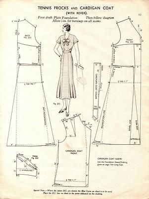 Free Vintage Tennis Frock Dress and Cardigan Coat Sewing Draft ...