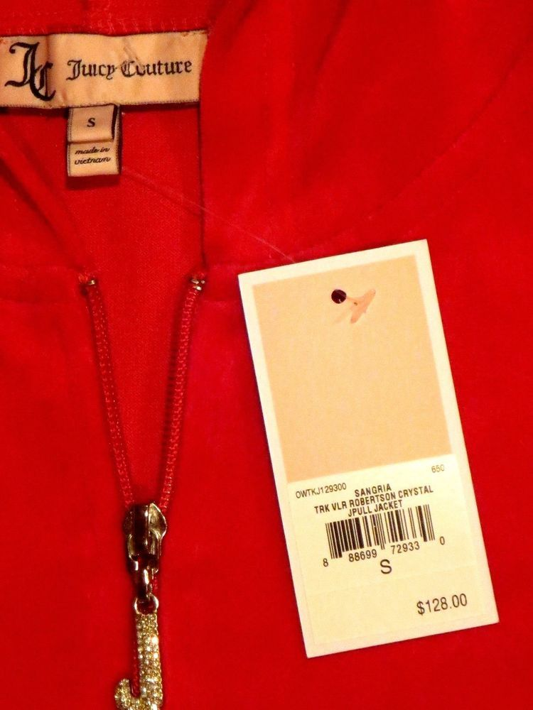 2e319355 JUICY COUTURE VELOUR ROBERTSON HOODIE SMALL CRYSTAL J PULL WOMEN'S S  SANGRIA #JuicyCouture #Hoodie