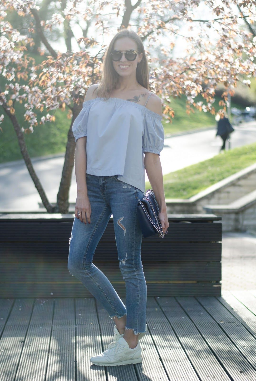 597e14eac57b kristjaana mere off shoulder top frayed jeans sneakers