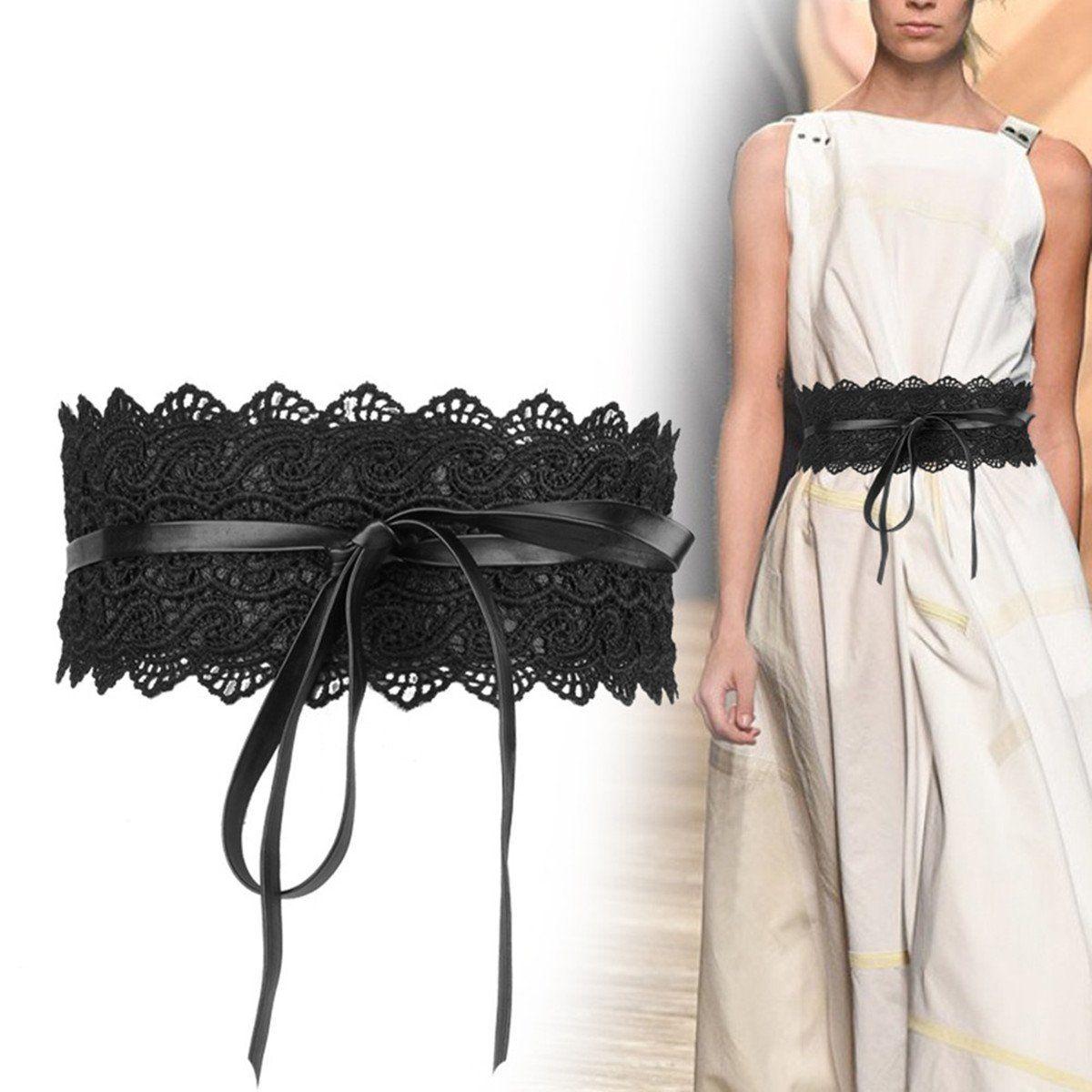 Women Faux Leather Wide Self Tie Wrap Around Obi Waist Band Cinch Boho Belt
