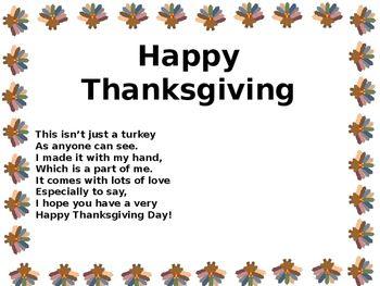 Thanksgiving Hand Turkey Poem