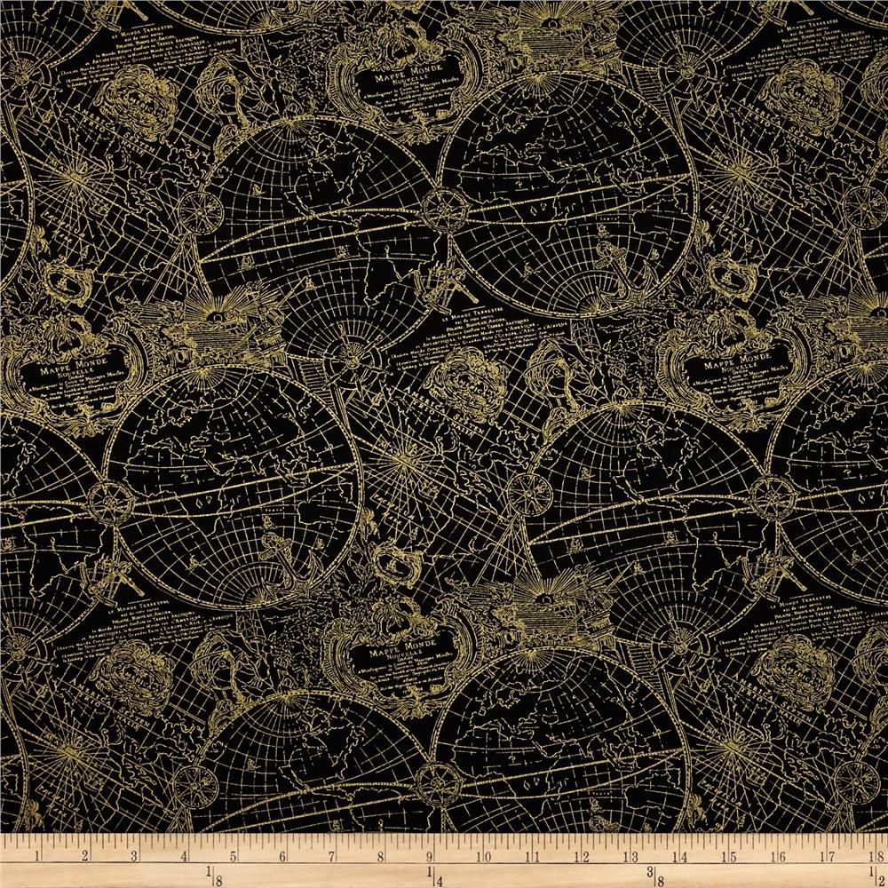 Gold standard metallic new world map blackgold from fabricdotcom gold standard metallic new world map blackgold from designed by maria kalinowski for kanvas in association with benartex this cotton print fabric is gumiabroncs Gallery