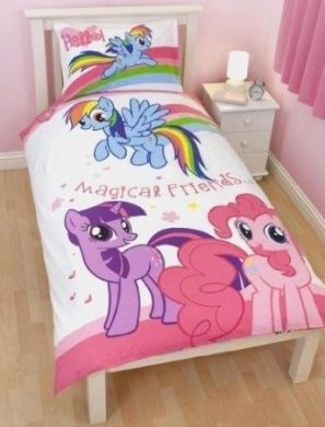 Childrens Kids My Little Pony Quilt Duvet Cover Bedding Set Single Bed White Pink