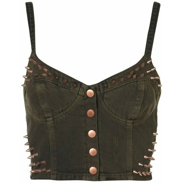 MOTO Khaki Studded Bralet ❤ liked on Polyvore featuring tops, bustier, bustiers / bralets, corset, shirts, studded bustier, bustier corset tops, studded corset top, khaki shirt and khaki top