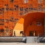 The Orange Cube Building Entrance by Jakob + MacFarlane Architects