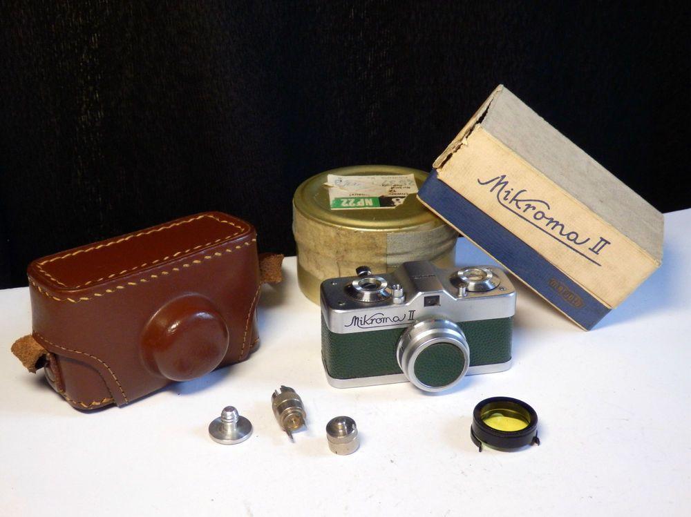 Midcentury Meopta Mikroma Ii Spy Camera 16mm Film Green Leather Case And Miscs Meopta