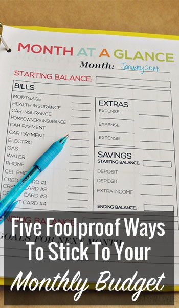 Five Foolproof Ways To Stick To Your Monthly Budget Monthly budget - sample monthly budget template