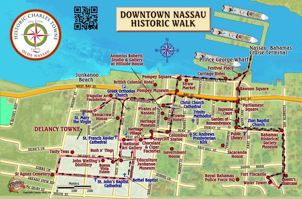 printable map of nassau bahamas Nassau Historic Walking Tour Map Card Bahamas Travel Bahamas printable map of nassau bahamas