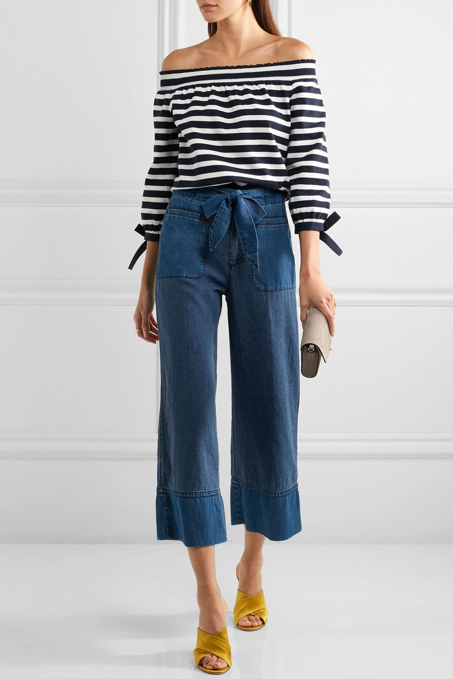 Off-the-Shoulder Stripe Top and Wide Leg Jeans