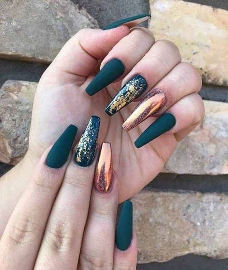 39 Trendy Fall Nails Art Designs Ideas To Look Autumnal And Charming Autumn Nail Art Ideas Fall Nail Art Fall A Gold Nails Long Acrylic Nails Casket Nails