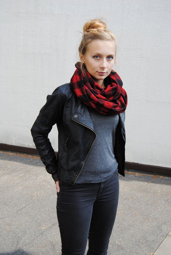 Red and Black Flannel Buffalo Plaid Infinity Scarf