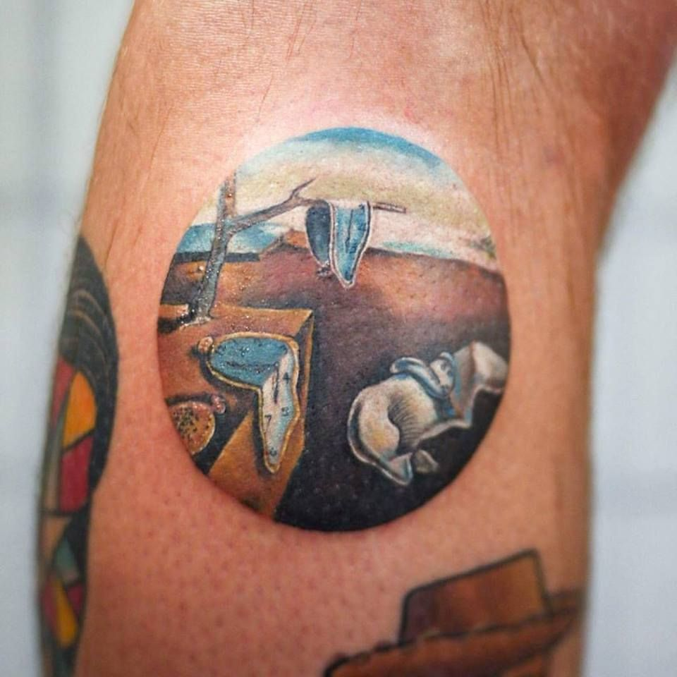 Circle Tattoo Of Salvador Dali S 1932 Persistence Of Memory By