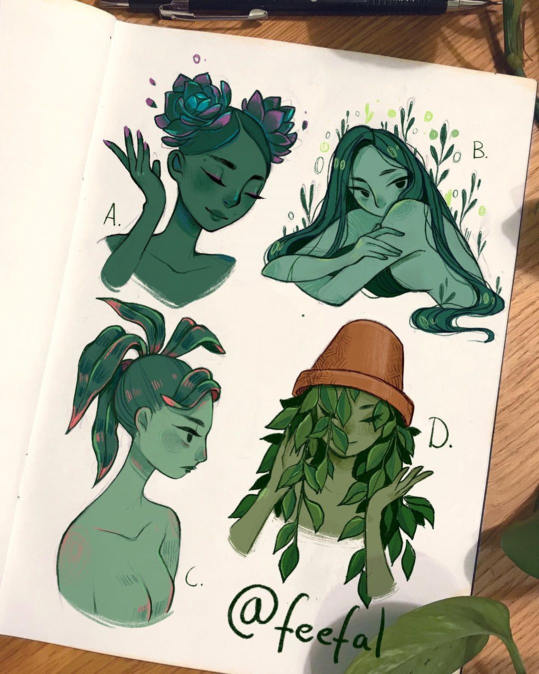 """Photo of Linnea auf Instagram: """"Einige Pflanzenmädchen. Diese waren so lustig zu machen, dass ich wie 100 weitere von ihnen zeichnen möchte. Ich denke, ich werde versuchen, einige fruchthaarige Mädchen zu zeichnen oder …"""" – Anime"""