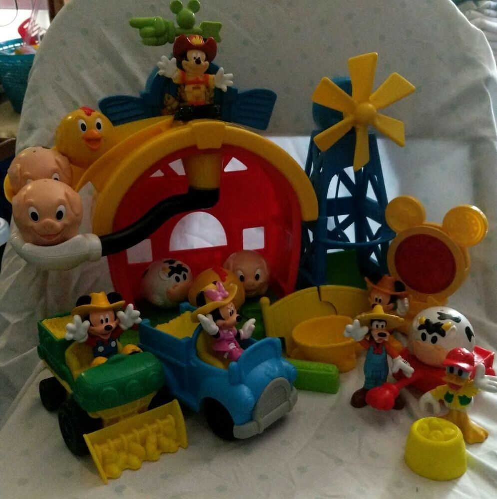 Mickey Mouse Clubhouse Barnyard Dance Playset Disney Farm 7 Animal