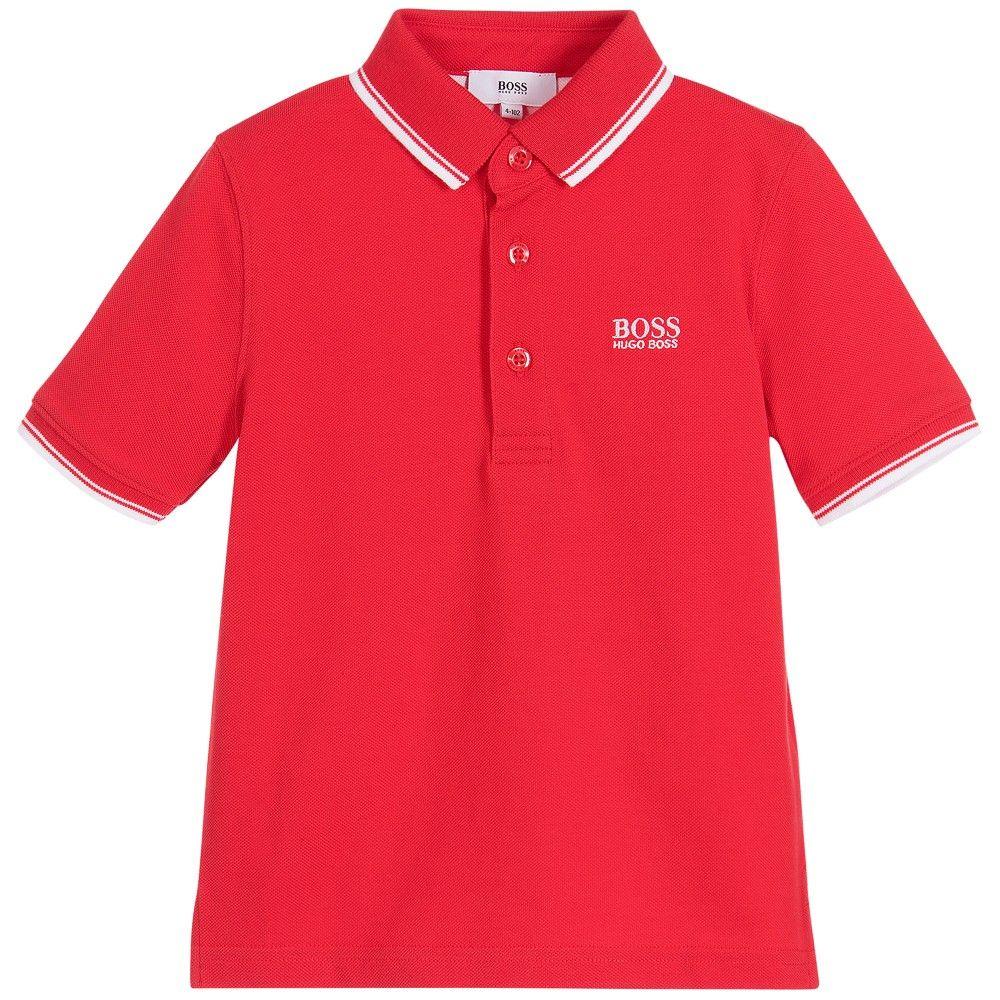 773140719 BOSS Boys Red Cotton Piqué Polo Shirt | Boss Kids Clothes | Orange ...