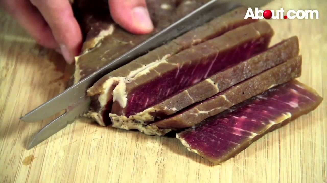 how to cut meat for jerky on a mandalin