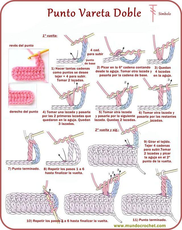 Punto vareta doble - Treble crochet - вязание крючком пунктов ...