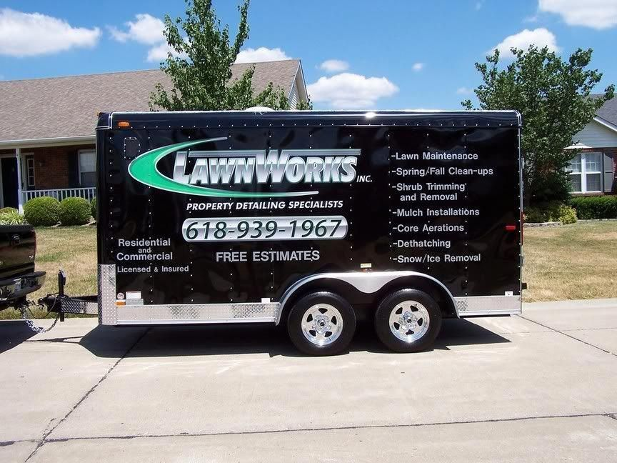 Enclosed Trailer Lettering Prices Any Pics Out There Lawnsite Com Lawn Care Landscaping Business Enclosed Trailers Lawn Care Companies Lawn Care