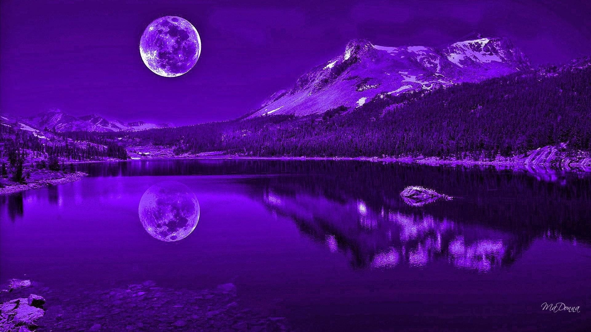Purple Nights Reflection Reflection Full Moon Mysterious Lake Mountains Purple Nature An In 2020 Night Reflection Beautiful Nature Wallpaper Full Moon Photography