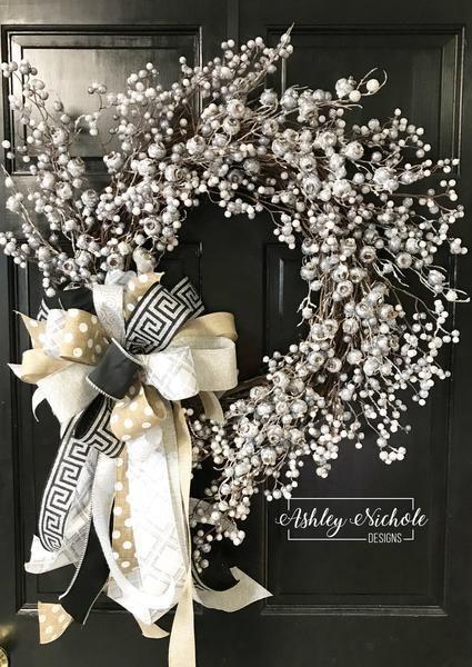 Photo of Snow Metallic Berry Cluster Wreath