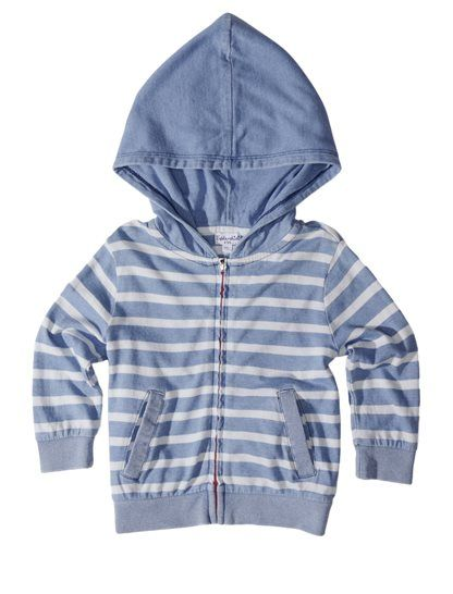 On-trend indigo! 	Classic hoodie with signature stripes 	Great for layering
