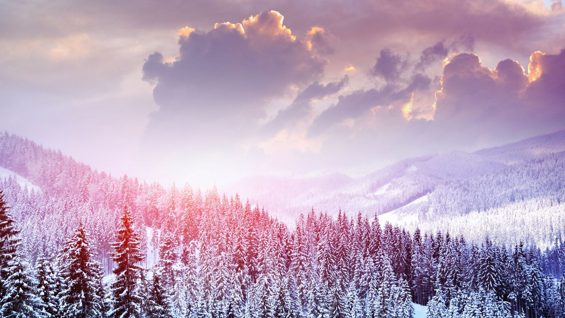 1920x1080 Wallpaper Landscape Winter Snow Trees Mountains Forest Sky Clouds Winter Wallpaper Iphone Wallpaper Winter Nature Wallpaper