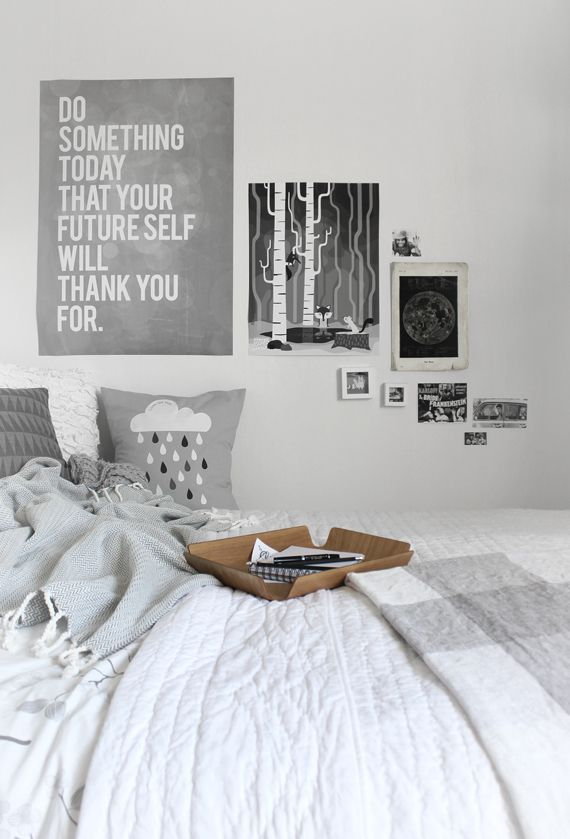 Wall Bedroom Decor Inspiration Home Decor  Bedrooms  White And Grey Bedroompostersread Decorating Inspiration