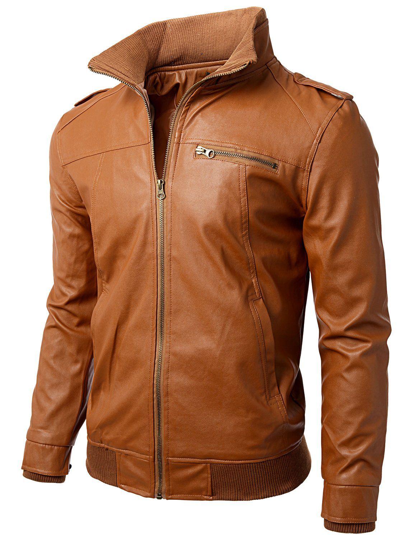 Doublju Men's Casual Slim Motorcycle Zipper Faux Leather