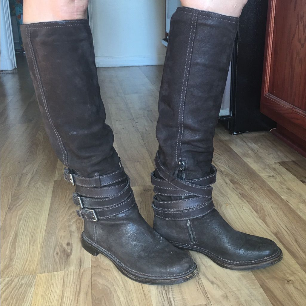 Miu Miu Brown Leather Riding Boots100% Authentic, Guaranteed Colors: Brown Leather With Silver Buckles & Zipperzips Onexcellent Used Conditioncomes With Original Duster Bagno Trades
