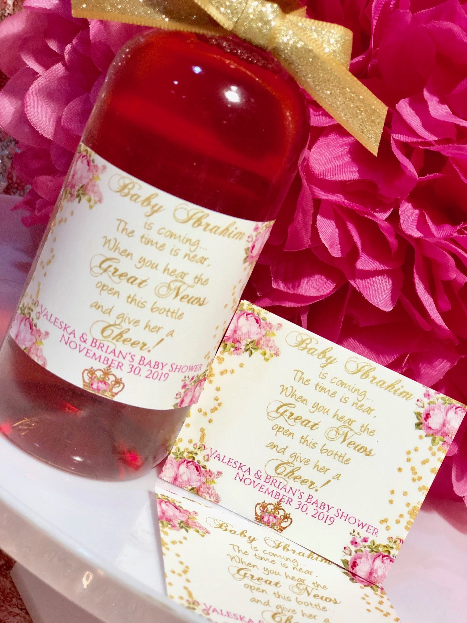 Pink And Gold Peonies Gold And Pink Mini Wine Bottle Labels Pink And Gold Party Theme Baby Shower Pink Peonie Mini Wine Bottles Gold Theme Party Wine Bottle