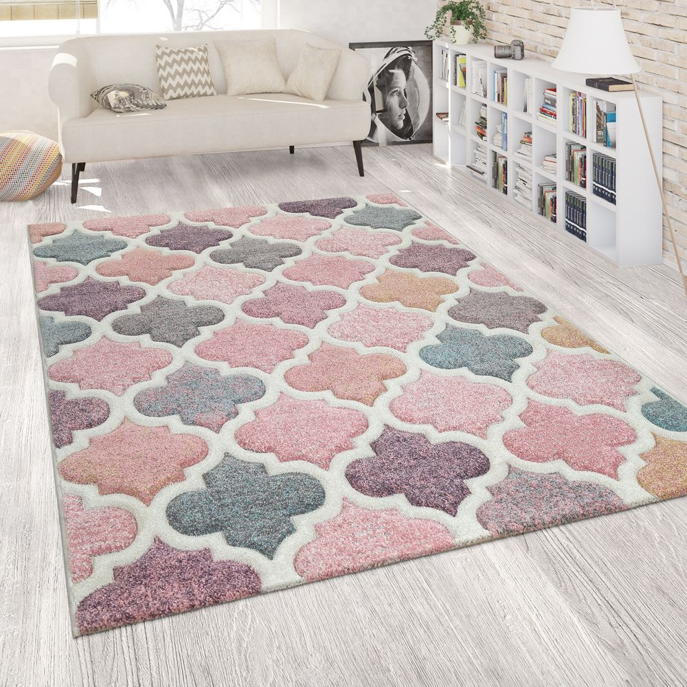 Teppich Marokkanisches Muster Rosa Bunt Marokkanisches Design Teppich Rosa Teppich Wohnzimmer