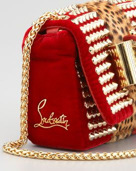 Christian Louboutin Sweet Charity Velvet Shoulder Bag
