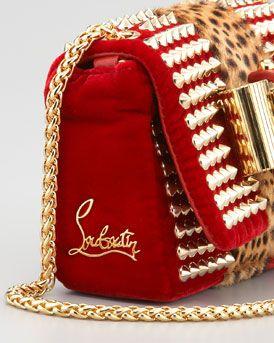 Christian Louboutin Sweet Charity Velvet Shoulder Bag