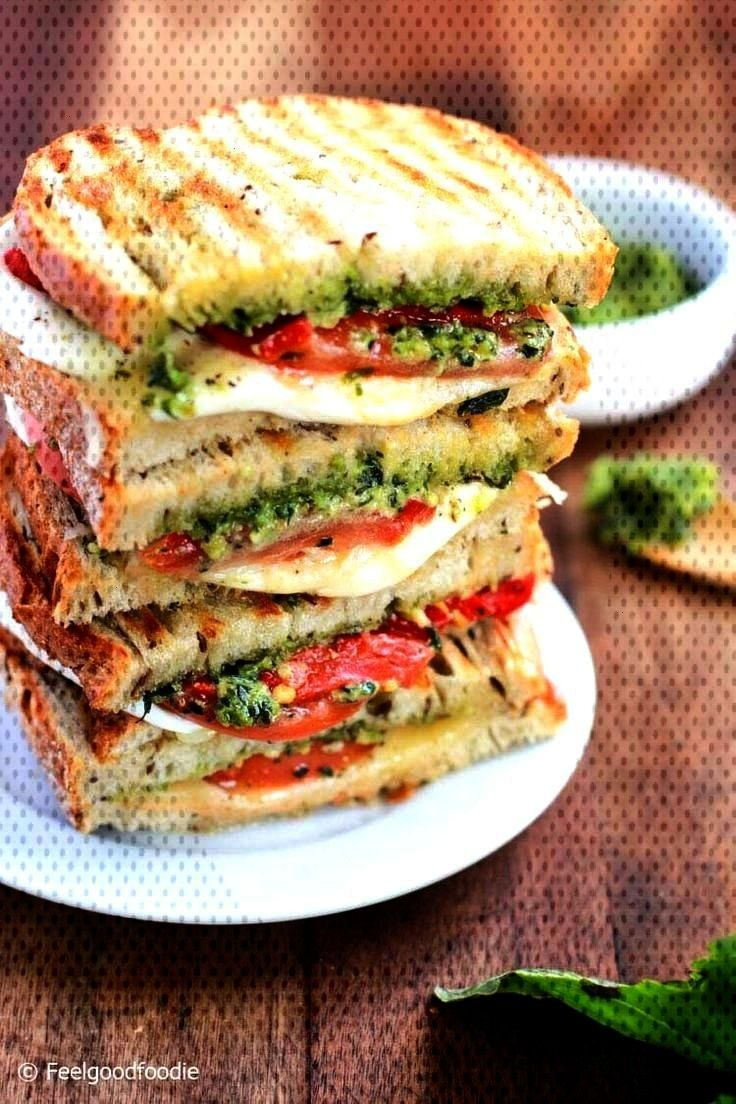 Grilled Mozzarella Sandwich with Walnut Pesto and Tomato that's easy to assemble and burstHomemade