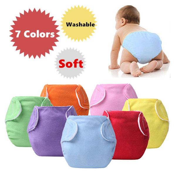 Adjustable Reusable Lot Baby Boy Girls Washable Cloth Diaper Nappies 7Colors