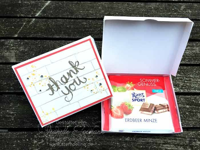 anleitung verpackung basteln f r schokolade ritter sport stampin up watercolor thank you. Black Bedroom Furniture Sets. Home Design Ideas
