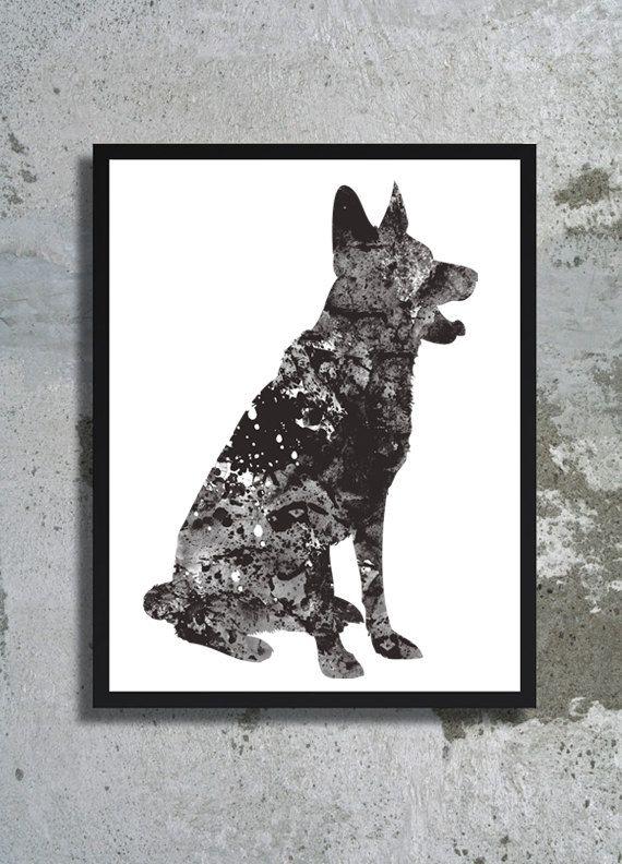 German Shepherd Watercolor Print Deutscher Schäferhund Dog Art Dog  Watercolor Home Decor Watercolor Painting Dog Illustration