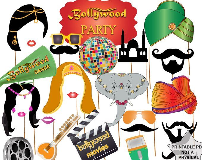 Bollywood India Photo Booth Props - 30 Printable Party Props