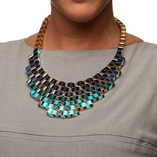Nexte Jewlery Goldtone Blue Ribbon Fashion Bib Necklace  have to figure out how to DIY