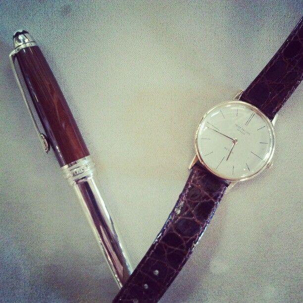 Timepiece: 1962 Patek Philippe Calatrava. Writing instrument: Mont Blanc Madeira Citrine
