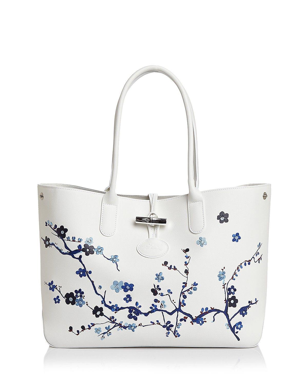 Longchamp Roseau Sakura Leather Shoulder Tote  ea2be83c80072