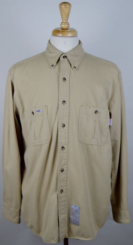 50dace35ec2 Tyndale Flame Resistant Tan Button Up Long Sleeve Work Shirt Men s Large  Used  Tyndale  ButtonFront