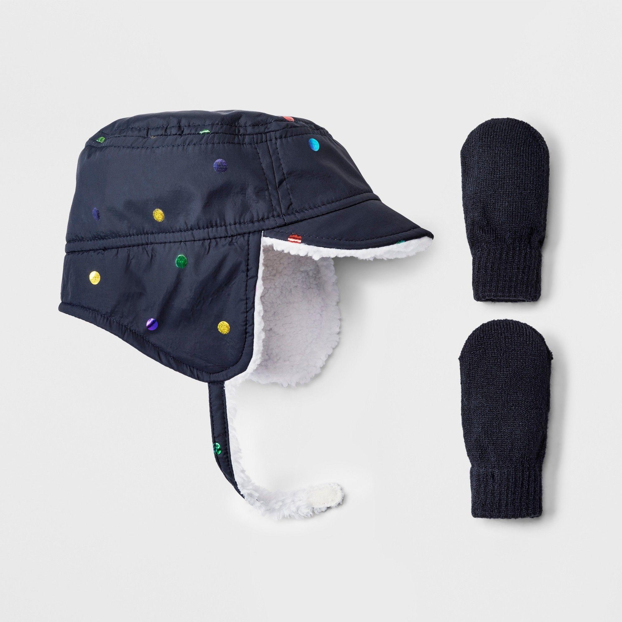 251cc52ec82 Toddler Girls  Rainbow Dot Trapper Hat and Mitten Set - Cat   Jack Blue  12-24M
