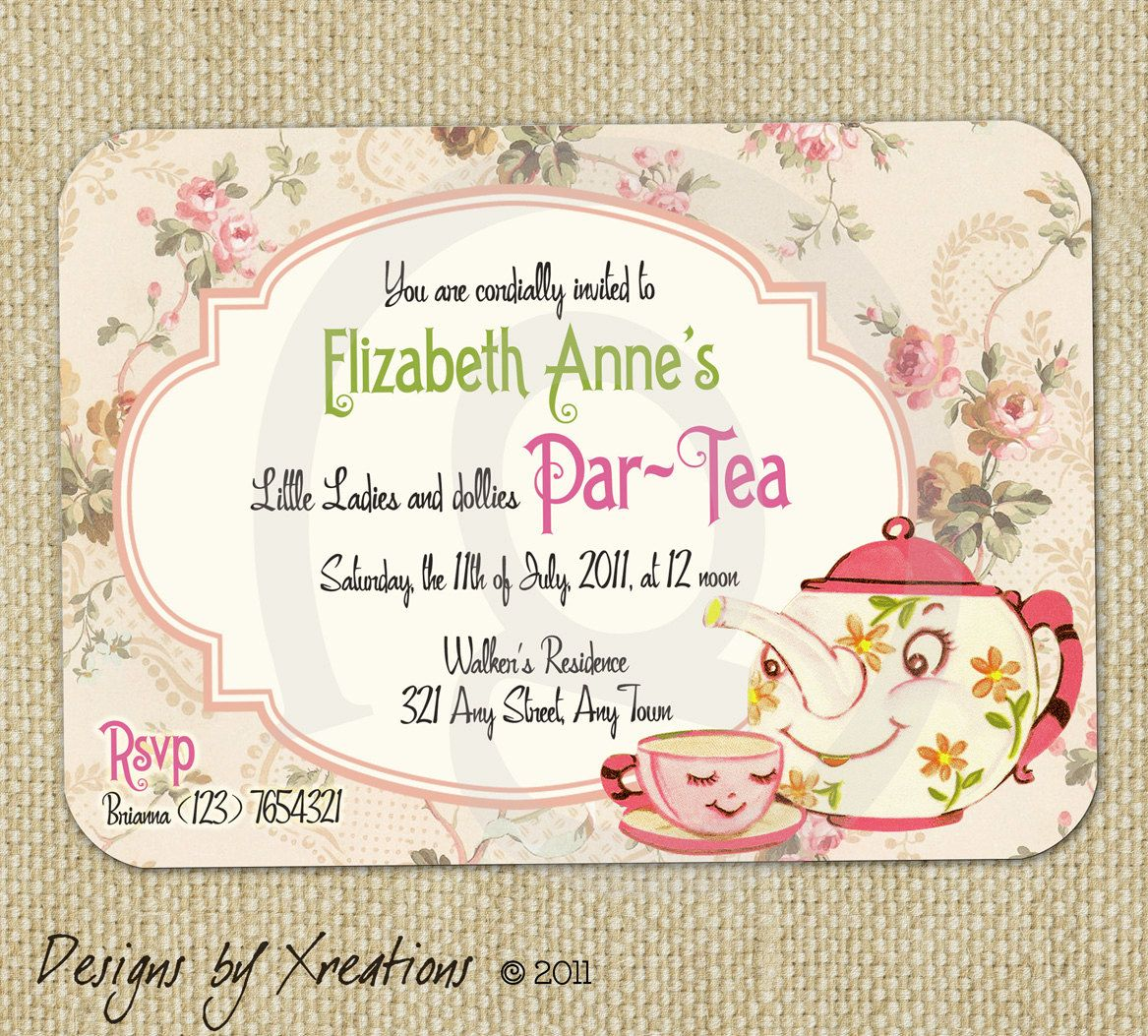 Cute Vintage Tea Party Invitation Digital Template Customizable - Tea party invitation template free